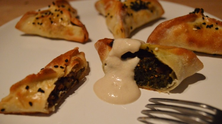 Spinach and lamb fatayers with a tahini dip
