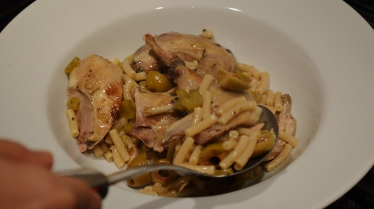 Partridge with Pasta and Green Olives from Cyprus