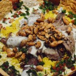 Mansaf with shoulder of kid goat
