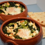 Greens, wild garlic, feta cheese and eggs