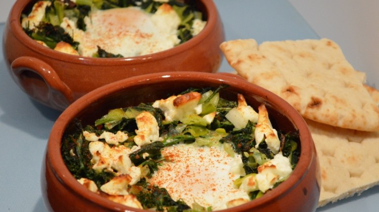 Greens, wild garlic, feta cheese and eggs