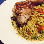 Whole wheat grain salad with lamb
