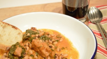 Veal with black eyed peas